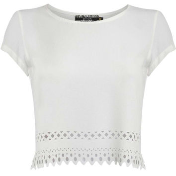 Perry Cut Out Hem Cap Sleeve Crop Top in White