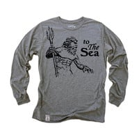 Poseidon- to The Sea: Fine Jersey Long Sleeve T-Shirt in Heather Grey