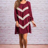 Right Direction Dress, Burgundy