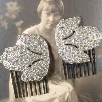 PAIR 1920s Flapper Rhinestone Leaf Bridal Hair Combs, Vintage Art Deco Silver Pave Original Dress Clips to OOAK Wedding Hair Piece Accessory