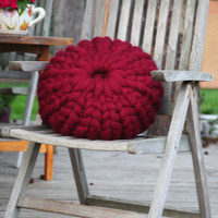 Round Super Chunky Pillow, Wool Knit Pillow Decorative Pillow Cozy Knitted Pillow Home Decor Couch Pillow Accent Throw Pillow Bulky Pillow