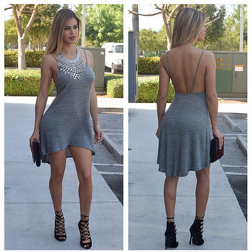 Gray Spaghetti Strap Asymmetrical hem Mini Dress