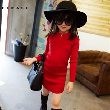 2017 Autumn Winter Fashion Baby Girl Slim Long Sleeve Knit Sweater Dress Kid Christmas Dresses Children Party Clothes 6638