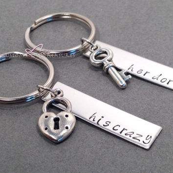 His Crazy Her Dork Keychains, Lock and Key Charms, Couples Keychains, Anniversary Gift