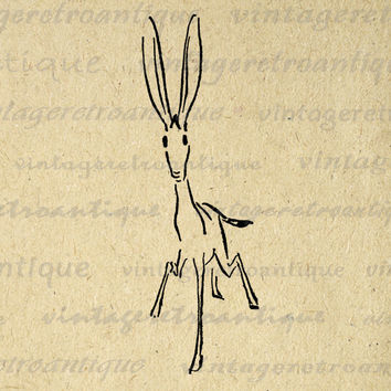 Digital Image Rabbit Printable Bunny Download Graphic Artwork Vintage Clip Art for Transfers Printing etc HQ 300dpi No.1630