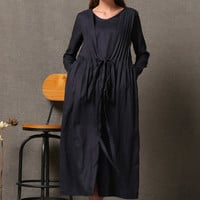 Autumn Black Linen Dress With Unique Swing Cloak C557