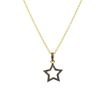 Diamond Open Star Necklace Gold