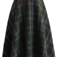 Chunky Plaids Knitted Skirt in Green