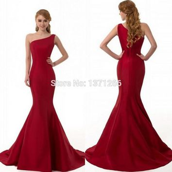 New Arrival One-Shoulder Taffeta Evening Party Dresses Long Elegant Mermaid Red Prom Dresses 2017