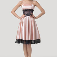 Light Pink  Strapless Empire Waist Lace Homecoming Dress