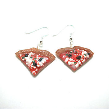 Pizza Earrings Pick your own Toppings Polymer by moonknightjewels