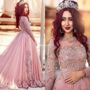 New Arrival Pink Muslim Wedding Dress  Elegant Lace Long Sleeve Vestido De Noiva Appliques Beading Ball Gown Wedding Dress