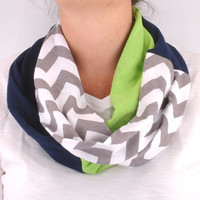 Chevron Green Navy Gray Seattle Seahawks Infinity Scarf infant toddler youth baby girl child woman