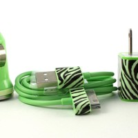 Zebra Print Glow in the Dark iPhone Car charger, wall adapter and cable