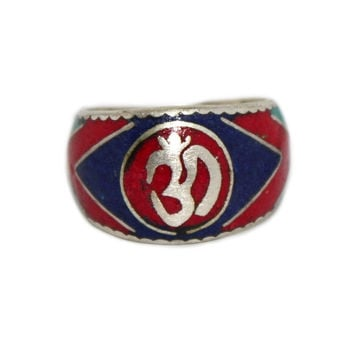 Om center coral yoga ring