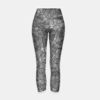 Grey and black zentangles Yoga Pants, Live Heroes
