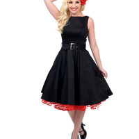 1950s Style Black Belted Sleeveless Swing Dress