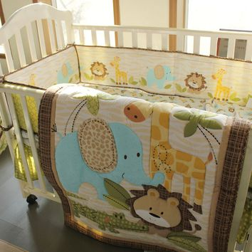 New 7 Pcs Baby Bedding Set Baby Cot Crib Bedding Set Cartoon Animal Baby Crib Set Quilt Bumper Sheet Skirt Harmonious Colors Mother & Kids Bedding Sets