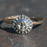 Silver SUN Ring Gold Band Pinky Ring US by MaggieMcManeDesigns