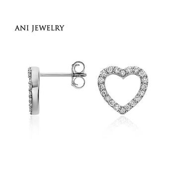 14KT White Gold Luxury 0.29 CT Certified I/S1 Natural Diamond Bijoux Heart Shape Stud Earrings