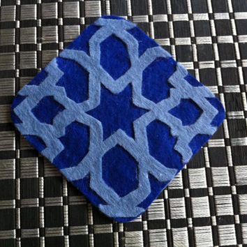 Mosaic coaster, arabesque under glass, under glass 2 colors, felt cut a hand, arabic design, art geomethrique, price for 1 single