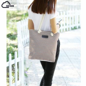 ISKYBOBGirl Leisure Summer Canvas Shopper Shoulder Bag Striped Beach Bags Big Capacity Tote Women Ladies Casual Shopping Handbag