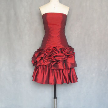 Red ruffle satin ball gowns prom dresses,short party dresses,short bridesmaid dresses,short party bridesmaid dresses,short party prom dress