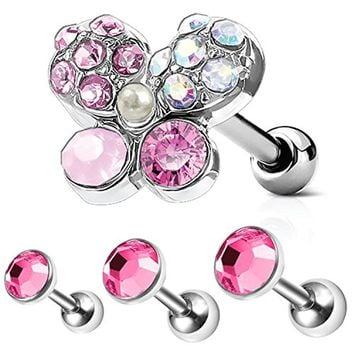 4PC Tragus Piercing Butterfly CZ Stud Earring Ball 16G Surgical Steel Triple Helix Ear Barbell