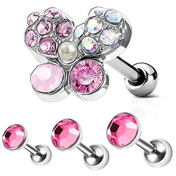 BodyJ4You 4PC Tragus Piercing Butterfly CZ Stud Earring Ball 16G Surgical Steel Triple Helix Ear Barbell