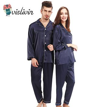 Vislivin Pyjamas Women Robe Silk Pajamas Sets Full Sleeve Sleepwear 2 Pieces Silk Homewear Men Turn-down Collar Couple Pijama