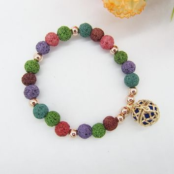 Multi Color Lava Beads and 16mm Locket Cage DIY Essential Oil DIffuser Bracelet