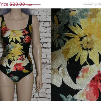 90s One Piece Swimsuit 1X 16 Floral Daisy Black White Bathingsuit Grunge hipster goth cyber pastel 80s Plus Size  Sunfl ower