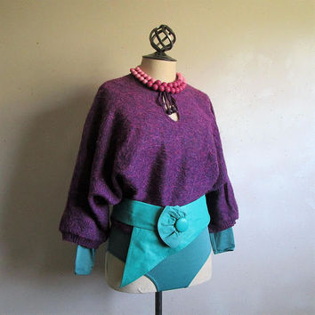 50OFF Event Vintage 1980s Mauve Sweater Dark Purple Mohair Blend 80s Dolman Sleeve Boho Chic Pullover Jumper Medium