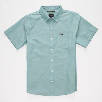 Rvca That'll Do Oxford Boys Shirt Teal Blue  In Sizes