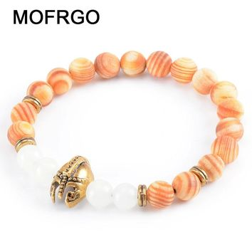 New Spartan Fluorescent Bead Charm Bracelets Tibetan Prayer Beads Natural Wood Meditation Bracelet Buddha Mala For Women Men