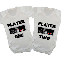 Player One Player Two Gamer Matching Twin Baby Onesuits