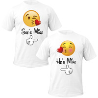 emoji love she's mine he's mine Couple Tshirts