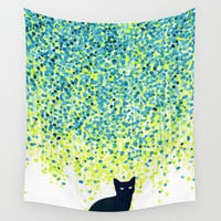 Cat in the garden under willow tree Wall Tapestry by Budi Satria Kwan