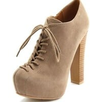 Lace-Up Sueded Ankle Bootie: Charlotte Russe