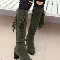 Army Green Round Toe Chunky Tassel Fashion Ankle Boots