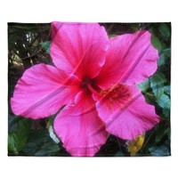 "NL Designs ""Tropical Pink Hibiscus"" Pink Floral Fleece Throw Blanket"