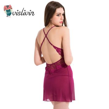 Vislivin Summer Lace Sexy Dress For Sleep Women G-string Underwear Floral Nightdress V-Neck New Style Two Pieces Sleepwear