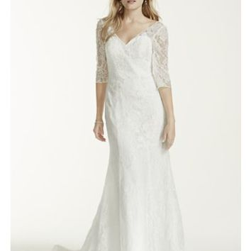 3/4 Sleeve All Over Lace Trumpet Wedding Dress - Davids Bridal