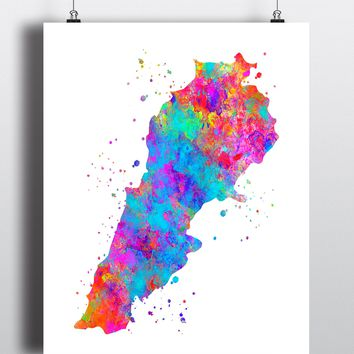 Lebanon Map Art Print - Unframed