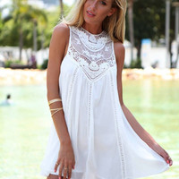 White Chic and Lacey Summer Dress- Lucky Duck Boutique