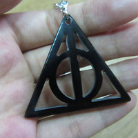Deathly Hallows necklace, Deathly Hallows pendant, black, Harry potter jewelry, handmade organic horn