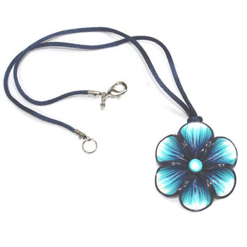 Blue necklace, Millefiori flower in a variety of blue colors, summer flower necklace, polymer clay necklace, gift for girls and women