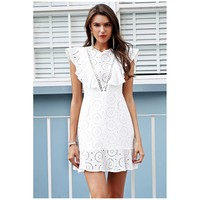 White Sleeveless Above Knee A Line Dress