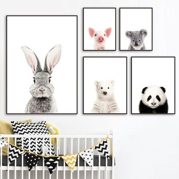 Rabbit Bear Panda Koala Pig Horse Wall Art Canvas Painting Nordic Posters And Prints Animals Wall Pictures Baby Kids Room Decor