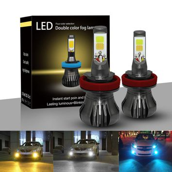 Kit Fog Light Double Color Double Mode Lighting 6000K+3000K 80W 9600LM All in One Conversion